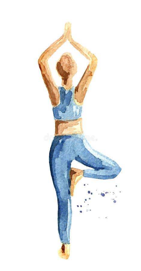 Concepto de la yoga Vrikshasana Actitud del árbol Práctica de la mujer Ejemplo dibujado mano de la acuarela aislado en el fondo b libre illustration