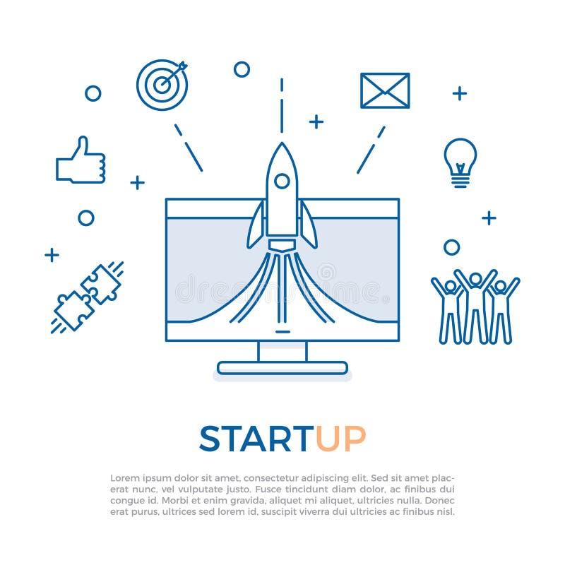 Concepto de lanzamiento acertado del lanzamiento Comience para arriba la tecnología del negocio con los iconos relacionados con e ilustración del vector