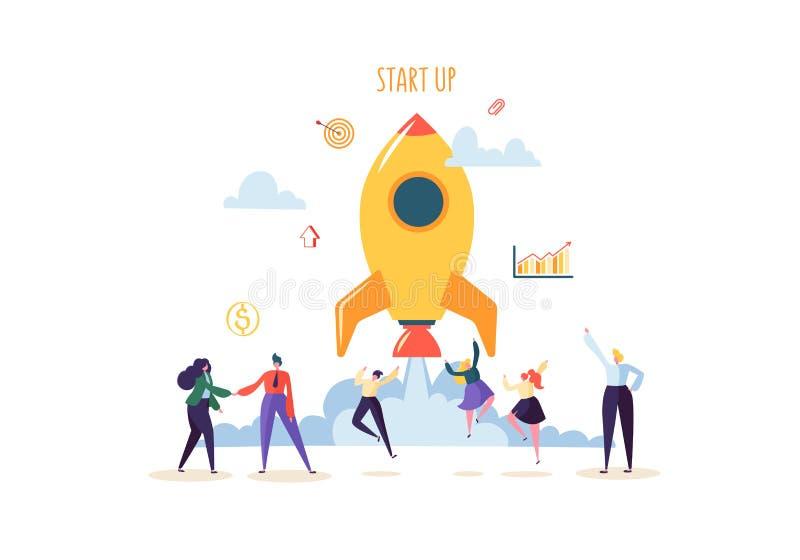 Concepto de lanzamiento con el salto de caracteres felices Hombres de negocios planos que lanzan a Rocket El nuevo proyecto acert stock de ilustración