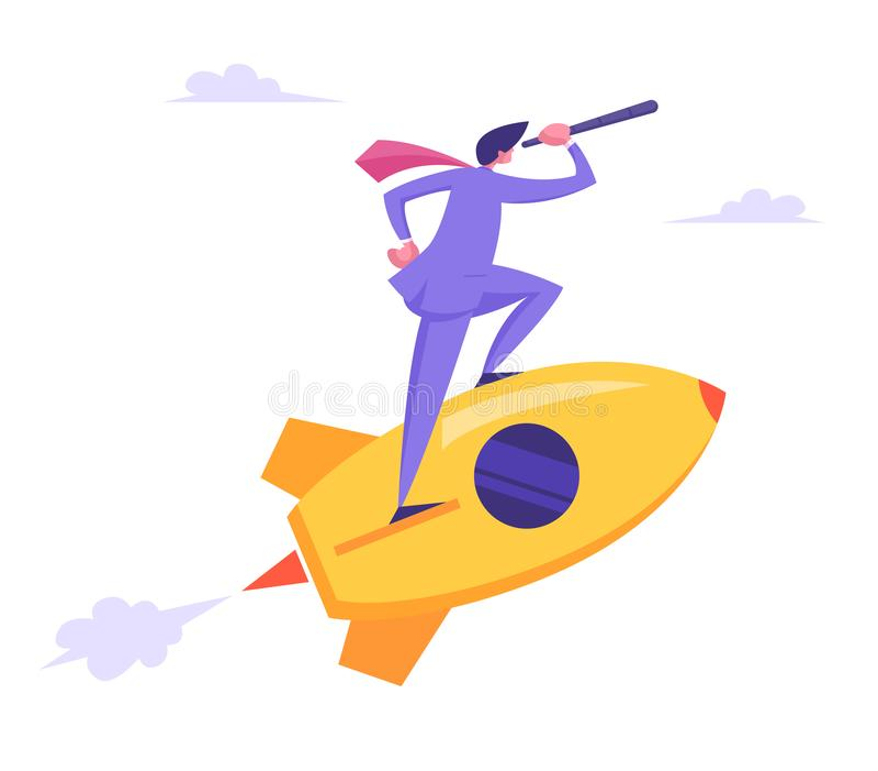 Concepto de lanzamiento con el vuelo del catalejo de Character Looking Through del hombre de negocios en Rocket Nuevo lanzamiento libre illustration
