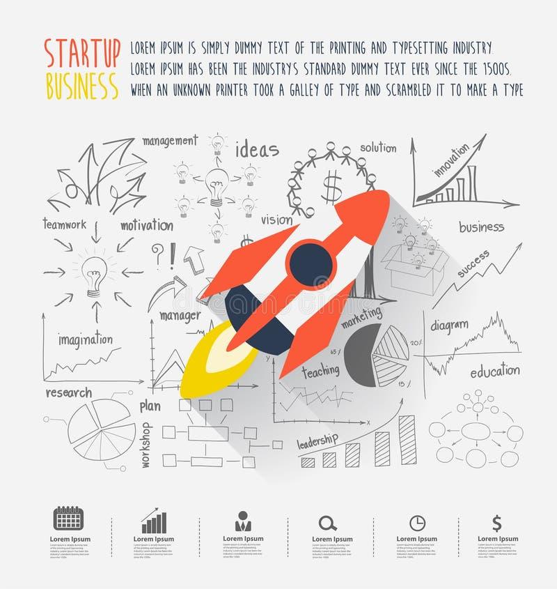 Concepto de lanzamiento de la idea del negocio ilustración del vector