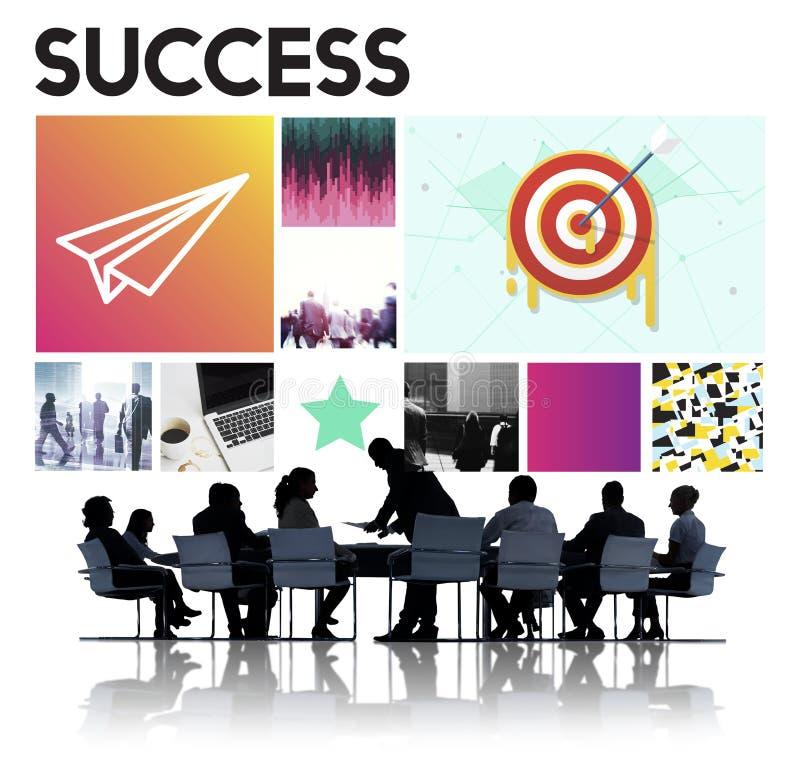 Concepto de lanzamiento de la marca del éxito del lanzamiento de la blanco de las metas fotos de archivo