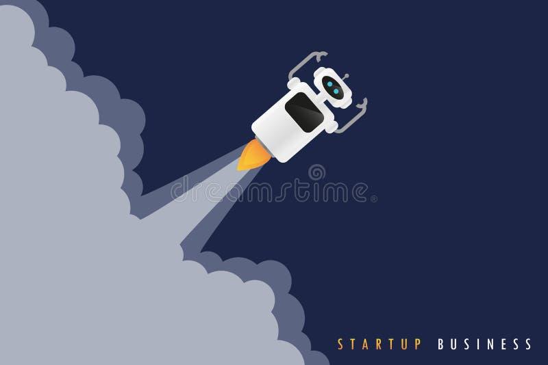 Concepto de lanzamiento del negocio con el lanzamiento del robot stock de ilustración