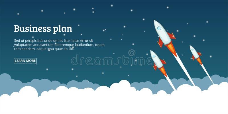 Concepto de lanzamiento del plan empresarial, estilo de la historieta ilustración del vector