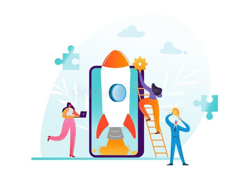 Concepto de lanzamiento del trabajo en equipo del proyecto del negocio Caracteres del negocio que lanzan a Rocket con la tecnolog libre illustration