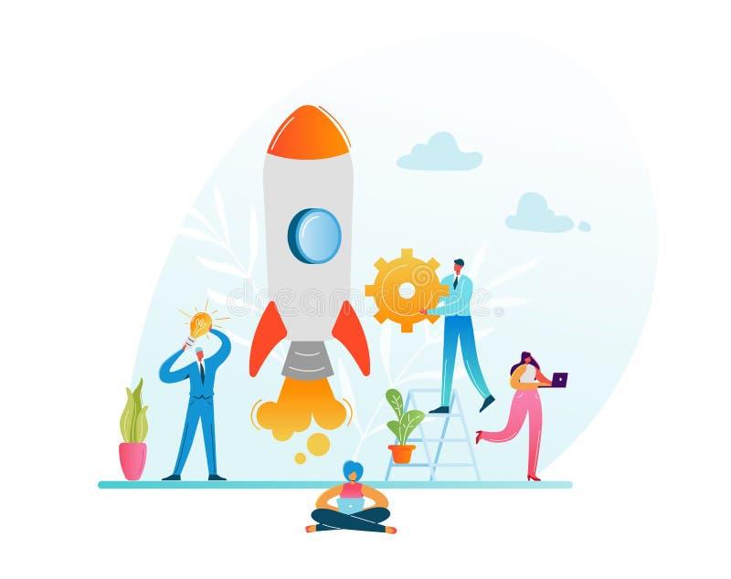 Concepto de lanzamiento de la innovación del proyecto del negocio Caracteres del negocio que lanzan a Rocket Gestión moderna del  stock de ilustración