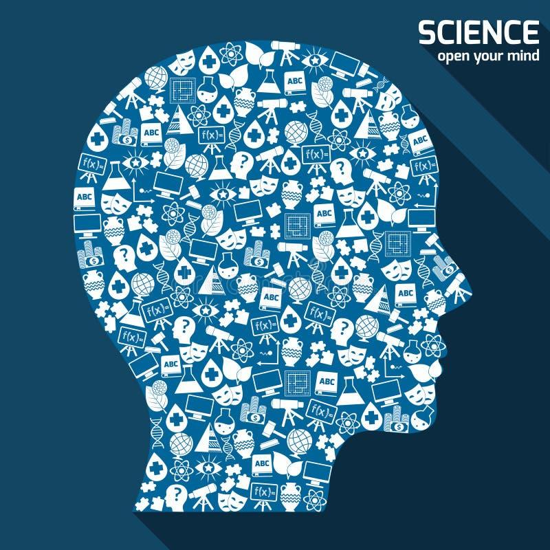 Concepto de las áreas de la ciencia stock de ilustración