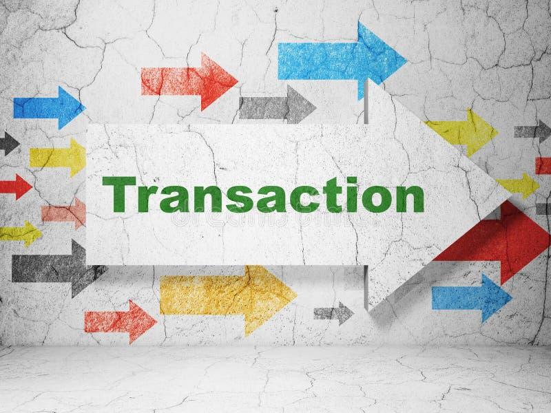 Concepto de las actividades bancarias: flecha con la transacción en fondo de la pared del grunge fotografía de archivo