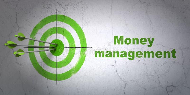 Concepto de las actividades bancarias: gestión de la blanco y de dinero en fondo de la pared stock de ilustración