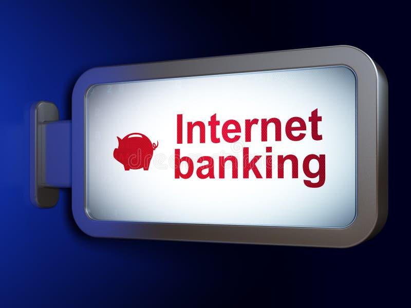 Concepto de las actividades bancarias: Actividades bancarias de Internet y caja de dinero en fondo de la cartelera stock de ilustración