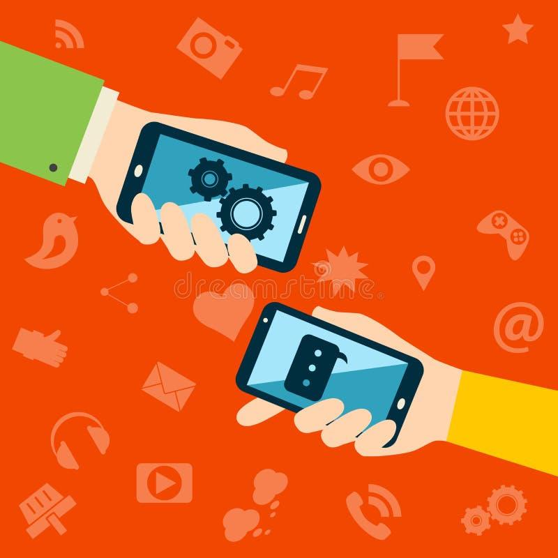 Concepto de las aplicaciones móviles stock de ilustración