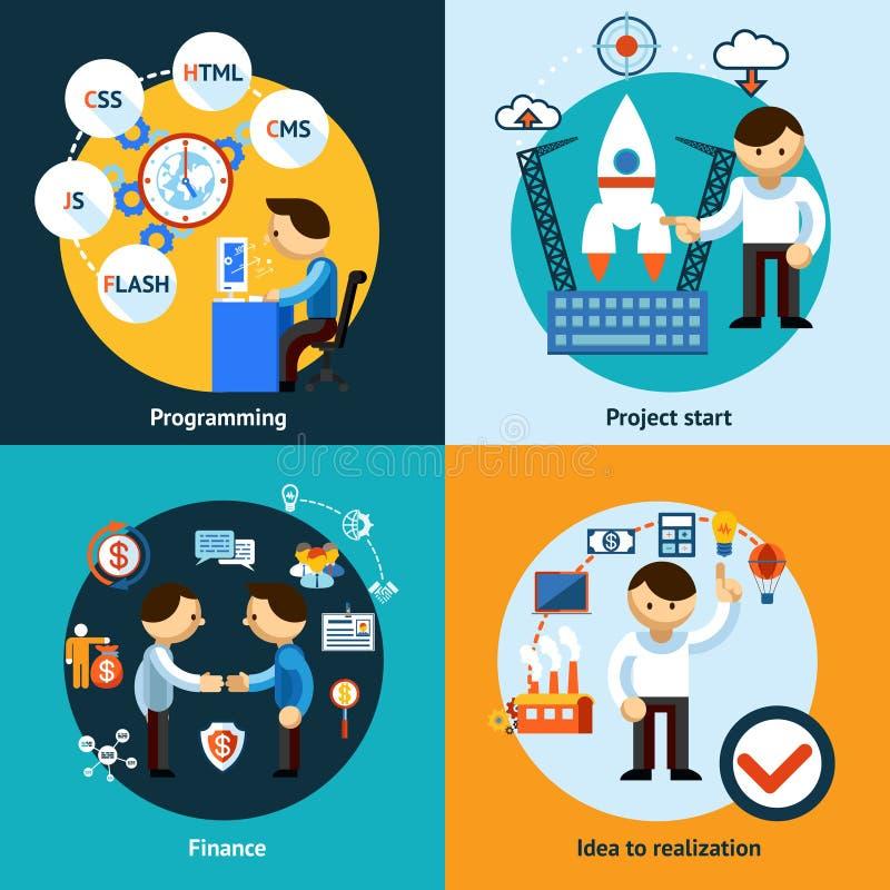 Concepto de las banderas del desarrollo web y de la programación stock de ilustración