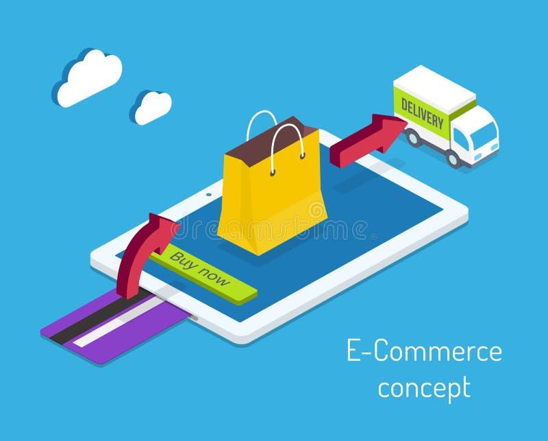 Concepto de las compras del comercio electrónico o de Internet stock de ilustración