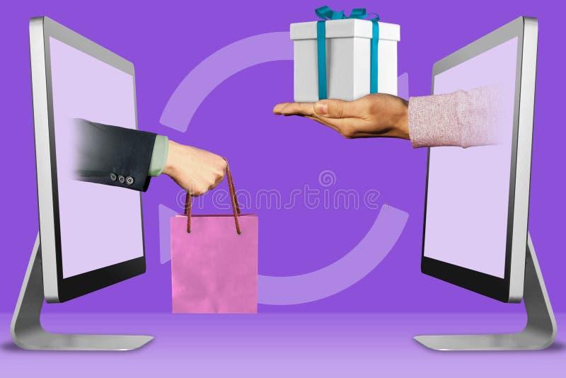 Concepto de las compras del ordenador, dos manos de monitores mano con el panier y mano con la caja de regalo ilustración 3D stock de ilustración