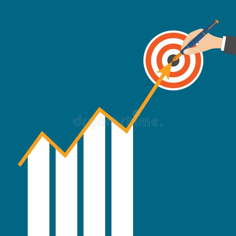 Concepto de las estrategias de la flecha del crecimiento del negocio Vector ilustración del vector