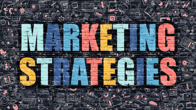 Concepto de las estrategias de marketing con los iconos del diseño del garabato libre illustration