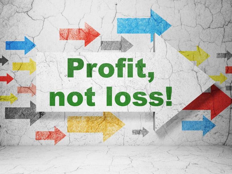 Concepto de las finanzas: ¡flecha con el beneficio, no pérdida! en fondo de la pared del grunge fotos de archivo libres de regalías