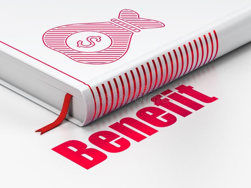 Concepto de las finanzas: bolso del dinero de libro, ventaja en el fondo blanco fotos de archivo