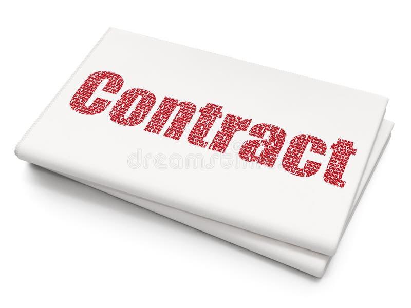 Concepto de las finanzas: Contrato en fondo en blanco del periódico stock de ilustración