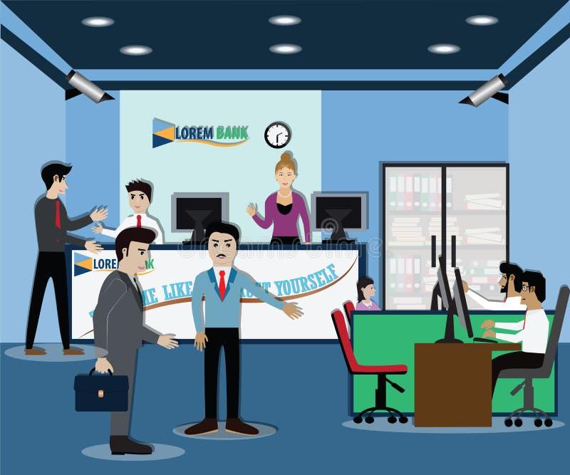 Concepto de las finanzas del negocio, estancia en el banco - vector del hombre de negocios stock de ilustración