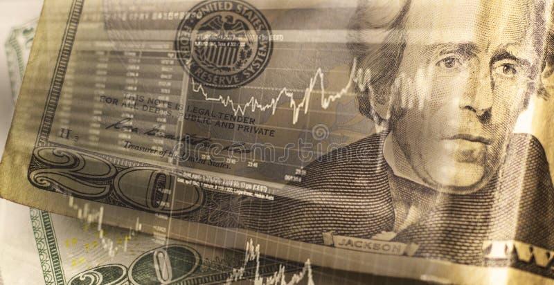 Concepto de las finanzas, del negocio y de las actividades bancarias Exposición doble del dinero, imagen de archivo libre de regalías