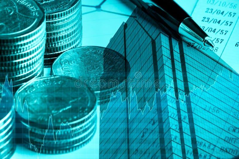 Concepto de las finanzas, del negocio y de las actividades bancarias Exposición doble del dinero, ci imágenes de archivo libres de regalías
