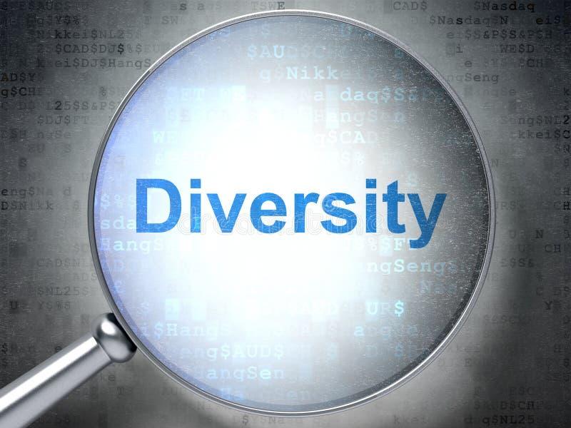 Concepto de las finanzas: Diversidad con el vidrio óptico libre illustration