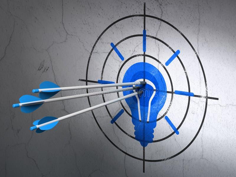 Concepto de las finanzas: flechas en blanco de la bombilla encendido