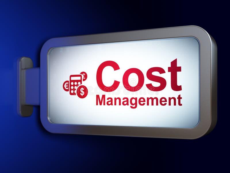 Concepto de las finanzas: Gestión y calculadora del coste en fondo de la cartelera stock de ilustración