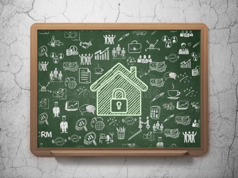 Concepto de las finanzas: Hogar en fondo del consejo escolar stock de ilustración