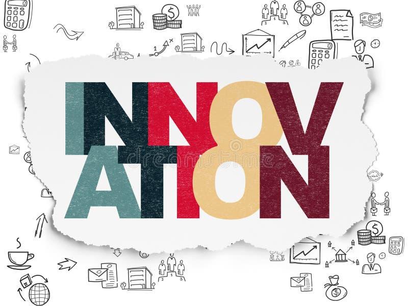 Concepto de las finanzas: Innovación en el papel rasgado stock de ilustración