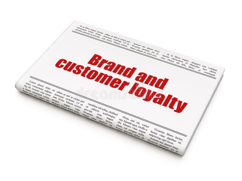 Concepto de las finanzas: lealtad de la marca y del cliente del título de periódico stock de ilustración