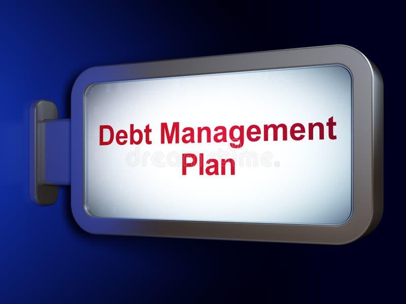 Concepto de las finanzas: Plan de gestión de la deuda en fondo de la cartelera stock de ilustración