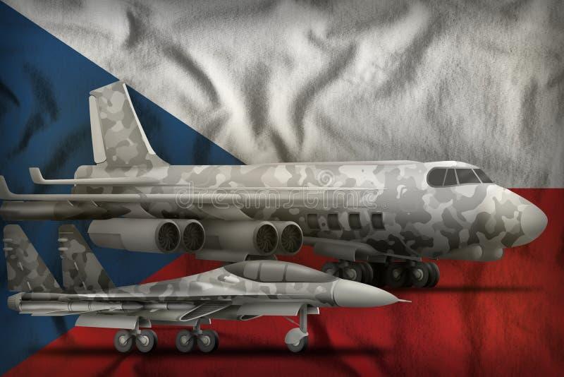 Concepto de las fuerzas aéreas de Czechia en el fondo de la bandera del estado ilustraci?n 3D imágenes de archivo libres de regalías