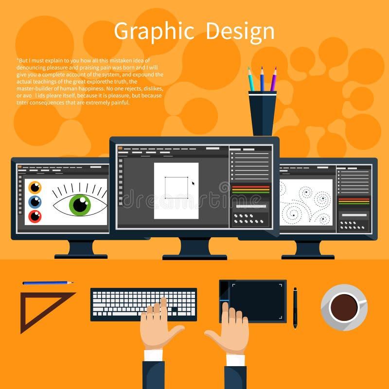 Concepto de las herramientas del diseño gráfico y del diseñador stock de ilustración