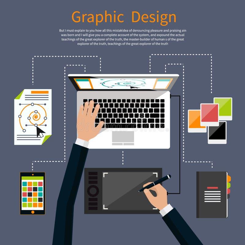 Concepto de las herramientas del diseño gráfico y del diseñador libre illustration