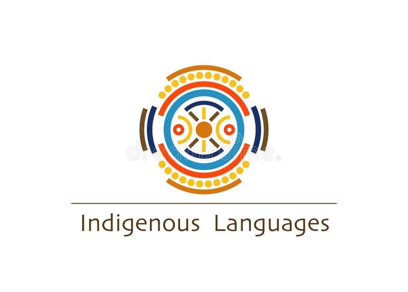 Concepto de las idiomas indígenas del logotipo del vector, 2019 años internacionales de idiomas indígenas aisladas en el fondo bl ilustración del vector