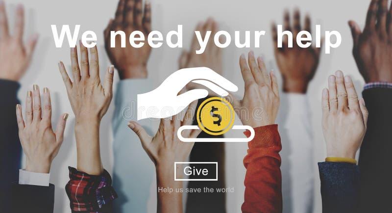 Concepto de las manos amigas del bienestar de las donaciones del dinero foto de archivo libre de regalías