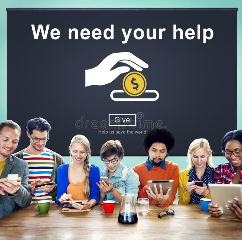 Concepto de las manos amigas del bienestar de las donaciones del dinero imagen de archivo libre de regalías