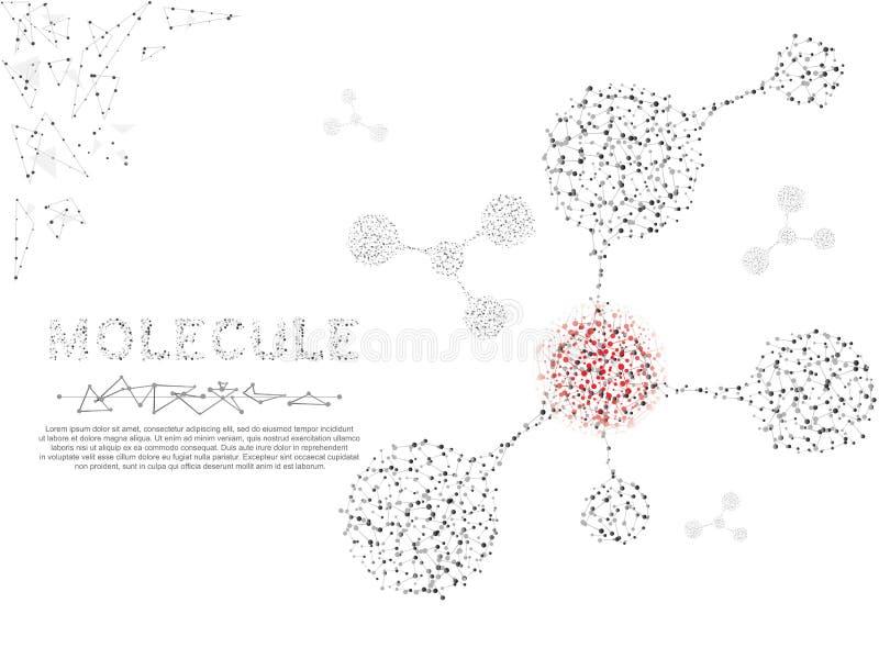 Concepto de las moléculas 3d de sistema nervioso Ejemplo polivinílico bajo del wireframe Imagen poligonal del vector en el fondo  ilustración del vector