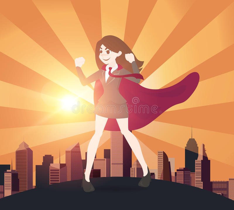 Concepto de las mujeres de negocios del super héroe Ilustración del vector libre illustration
