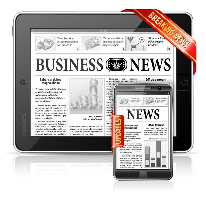 Concepto de las noticias de última hora - PC de la tablilla, Smartphone stock de ilustración