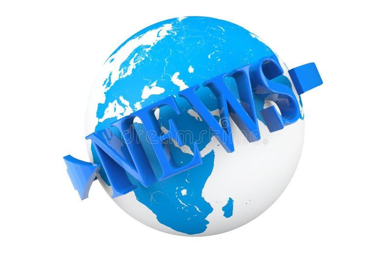 Concepto de las noticias de mundo. Globo de la tierra con noticias de la palabra ilustración del vector