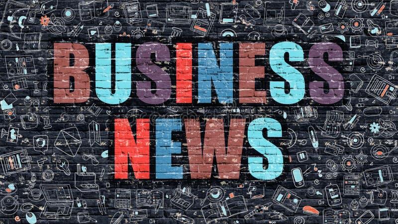 Concepto de las noticias de negocio con los iconos del diseño del garabato ilustración del vector