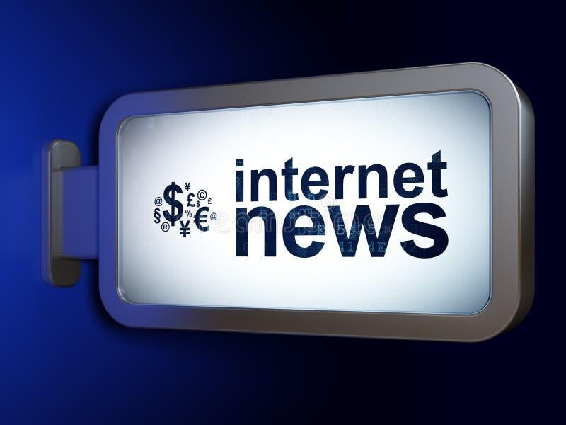 Concepto de las noticias: Noticias de Internet y símbolo de las finanzas en fondo de la cartelera fotos de archivo