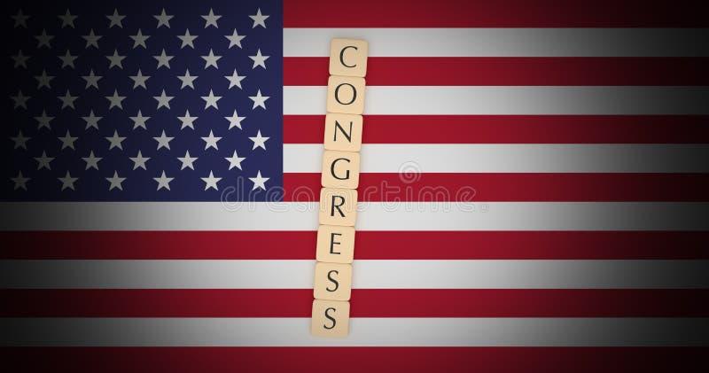 Concepto de las noticias de la política de los E.E.U.U.: La letra teja al congreso sobre el ejemplo de la bandera 3d de los E.E.U ilustración del vector