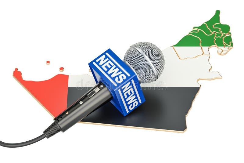 Concepto de las noticias de los UAE, noticias del micrófono en el mapa del emir árabe unido libre illustration