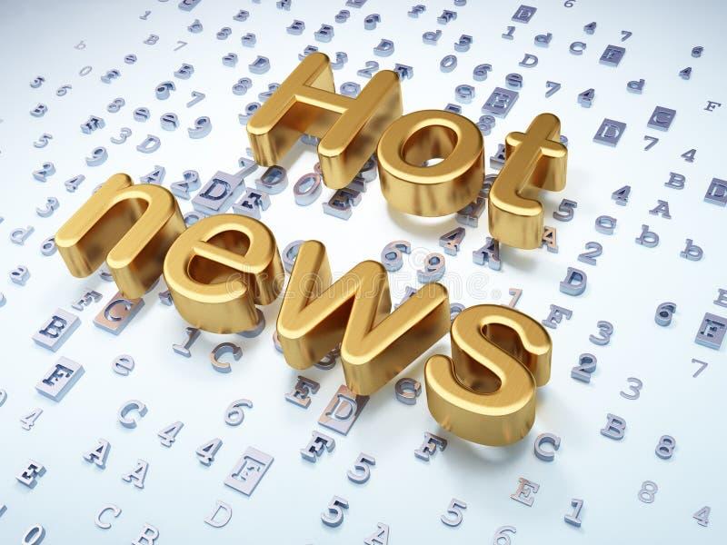 Concepto de las noticias: Noticias calientes de oro en digital ilustración del vector