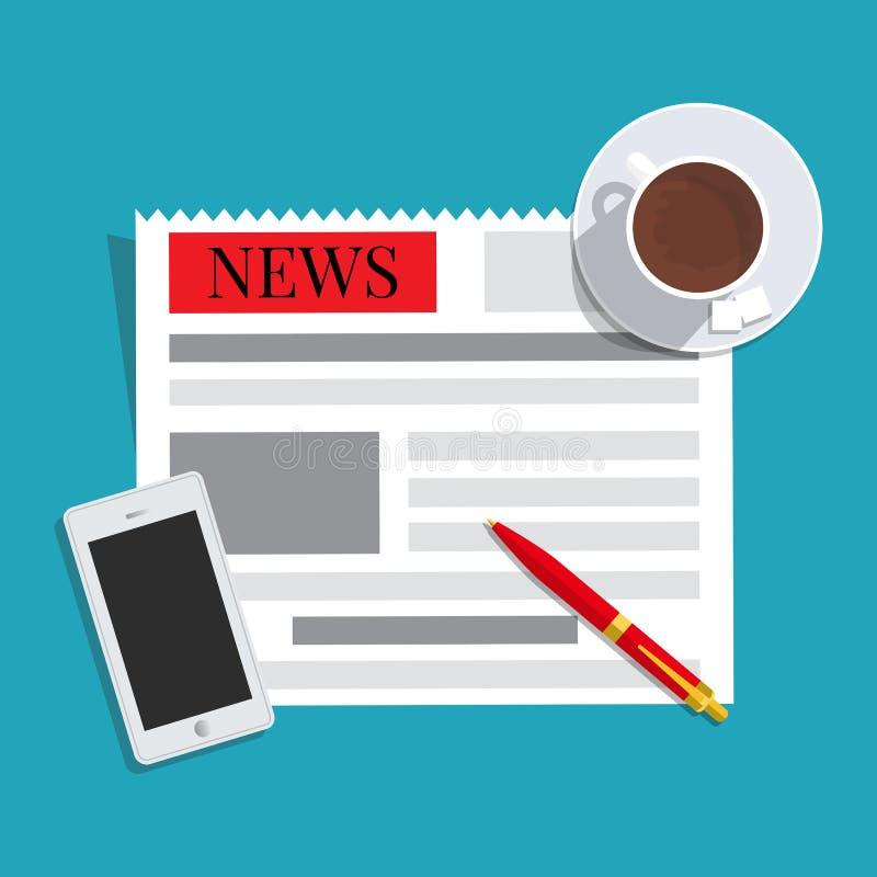 Concepto de las noticias Periódico, taza de café, teléfono elegante y pluma ilustración del vector