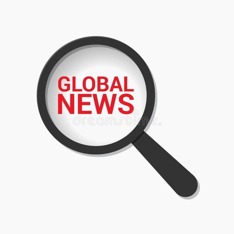 Concepto de las noticias: Vidrio óptico que magnifica con noticias globales de las palabras ilustración del vector